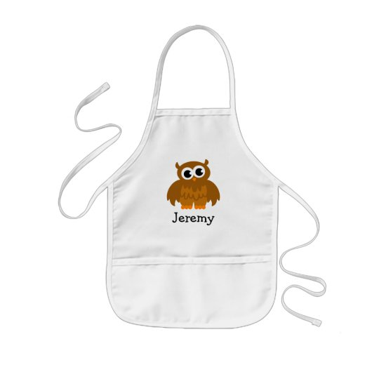 Cute owl cartoon apron for kids | Customise