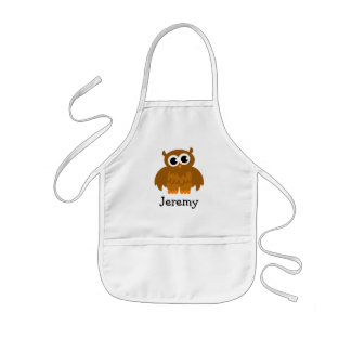 Cute owl cartoon apron for kids | Customize name