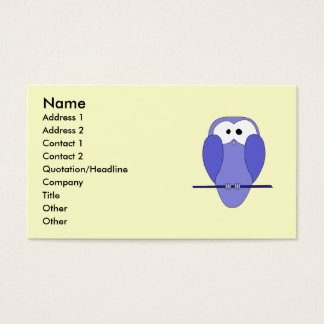 Cute Owl Cartoon. Blue. Business Card
