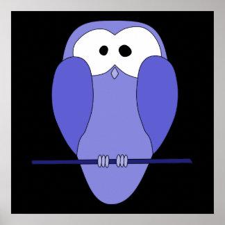 Cute Owl Cartoon. Blue. Poster