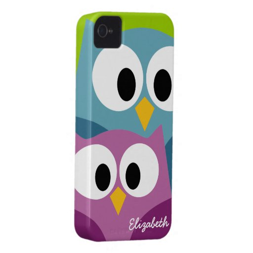 Cute Owl Cartoon eyes with Name - colorful iPhone 4 Case-Mate Cases