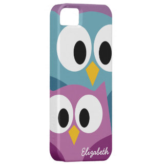 Cute Owl Cartoon eyes with Name - colorful iPhone 5 Cover