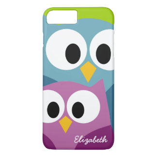 Cute Owl Cartoon eyes with Name - colorful iPhone 7 Plus Case