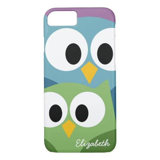 Cute Owl Cartoon eyes with Name - colourful