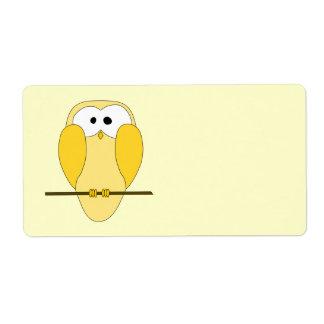 Cute Owl Cartoon. Yellow.