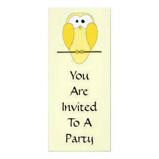 Cute Owl Cartoon. Yellow. 10 Cm X 24 Cm Invitation Card