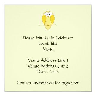Cute Owl Cartoon. Yellow. 13 Cm X 13 Cm Square Invitation Card