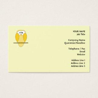Cute Owl Cartoon. Yellow. Business Card