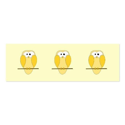 Cute Owl Cartoon. Yellow. Business Card Templates