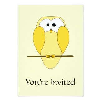 Cute Owl Cartoon. Yellow. 13 Cm X 18 Cm Invitation Card