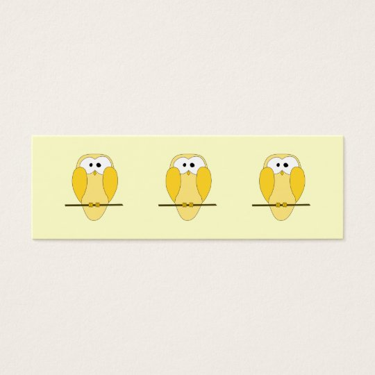 Cute Owl Cartoon. Yellow. Mini Business Card
