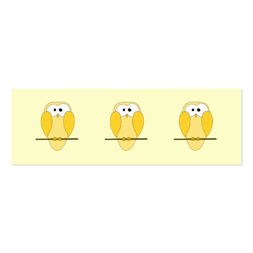 Cute Owl Cartoon. Yellow. Pack Of Skinny Business Cards