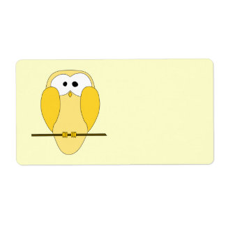 Cute Owl Cartoon. Yellow. Shipping Label