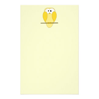 Cute Owl Cartoon. Yellow. Stationery