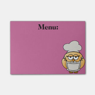 Cute Owl Chef Menu Pink Post It Note Post-it® Notes