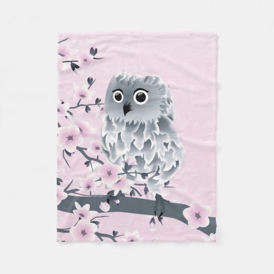 Cute Owl Cherry Blossoms Pink Grey Floral Fleece