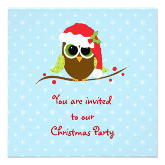 Cute Owl Children's Christmas Party Invitation