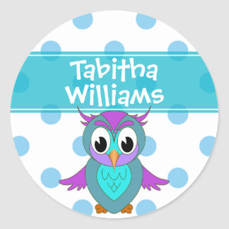 Cute Owl Children's Personalized Round Sticker