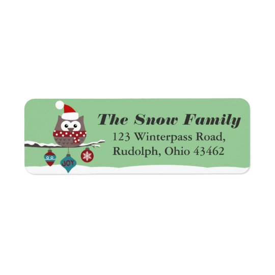 Cute Owl Christmas Mailing Label CUSTOM COLOR