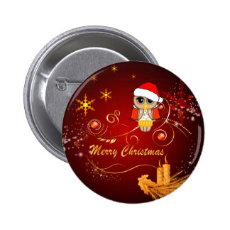 Cute owl christmas pinback buttons