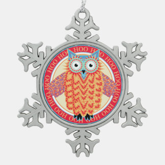 Cute Owl Colorful Christmas Snowflake Pewter Christmas Ornament