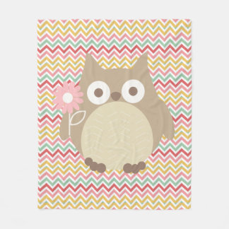 Cute Owl Colorful Modern Chevron Pattern Fleece Blanket