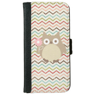Cute Owl Colorful Modern Chevron Pattern iPhone 6 Wallet Case