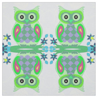 Cute owl colorful polka dot kids nursery fabric
