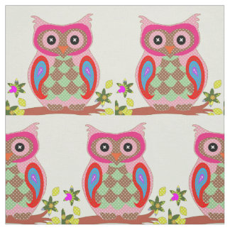 Cute owl colorful polka dot nursery fabric