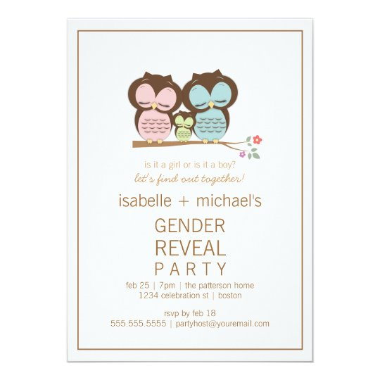 Cute Owl Couple Gender Reveal Party Invitation