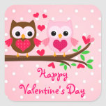 Cute Owl Couple I Love You Happy Valentine's Day Square Stickers