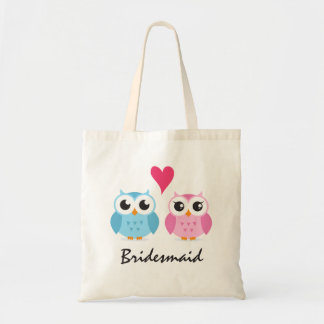 Cute owl couple love cartoon wedding bridesmaid tote bag