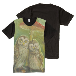 Cute owl couple oil painting All-Over print T-Shirt