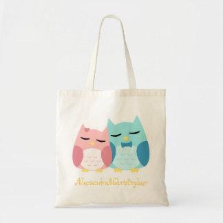 Cute owl couple tote bag