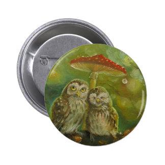 Cute Owl Couple under the Mushroom 6 Cm Round Badge