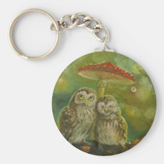 Cute Owl Couple under the Mushroom Key Ring