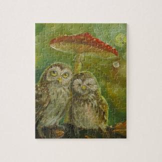 Cute Owl Couple under the Mushroom Puzzle