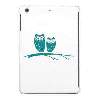 Cute owl couple with hearts iPad mini retina cover