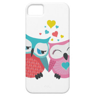 Cute owl couple with hearts iPhone 5 case