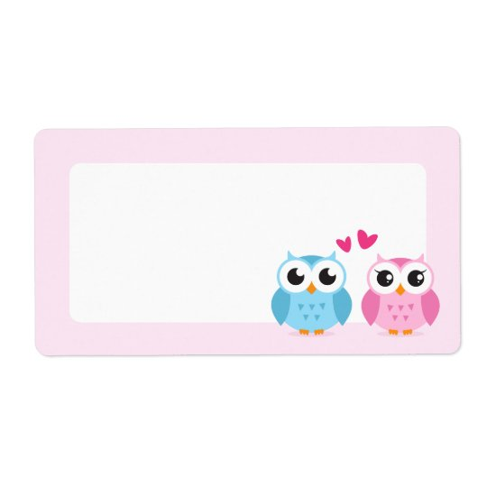 Cute owl couple with pink love hearts