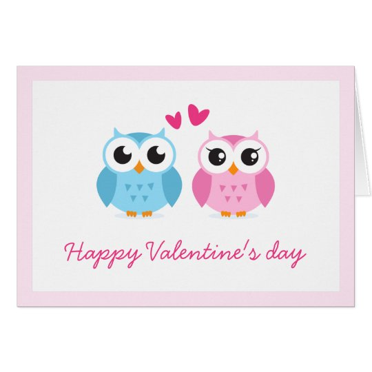 Cute owl couple with pink love hearts Valentine Card