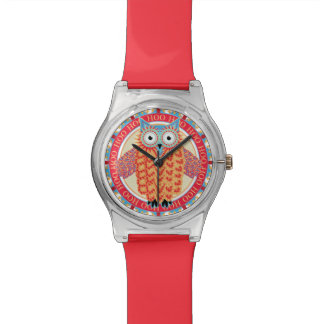 Cute Owl Drawing Hoo Hoot Colorful Red + Blue Watch