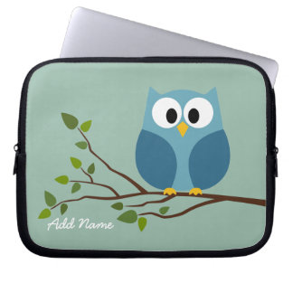Cute Owl Drawing on a Tree Branch Computer Sleeve