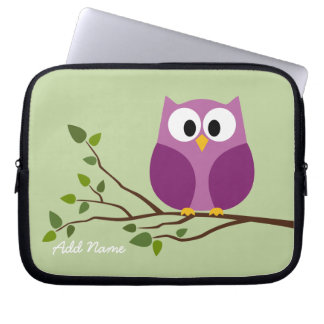 Cute Owl Drawing on a Tree Branch Laptop Sleeves
