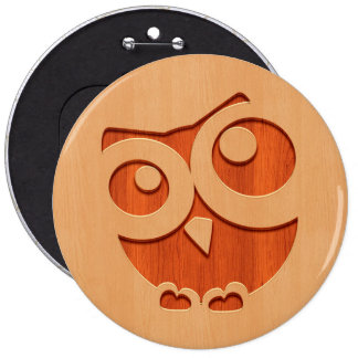Cute owl engraved in wood effect 6 cm round badge