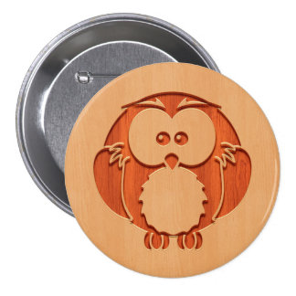 Cute owl engraved in wood effect 7.5 cm round badge
