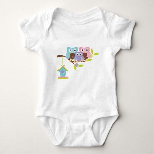 Cute Owl Family Baby Bodysuit