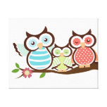 Cute Owl Family Canvas Prints