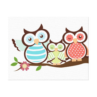 Cute Owl Family Canvas Prints