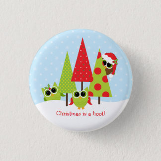 Cute Owl Family Christmas Button